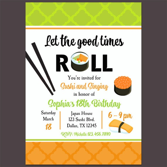 Sushi roll invitation printable sushi soiree sushi and karaoke il570xn stopboris