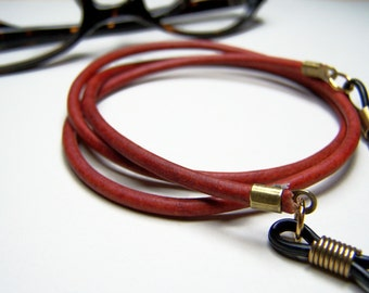 Antique Red Eyeglass Chain, 3mm Leather, Eyeglass Chain, Custom Length 24-36 Inches Leather Chain for Glasses, by Eyewearglamour