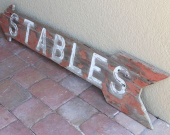 1960s Stables Wood Sign From a Stable in Ocala Florida
