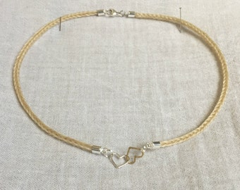 Horse Hair Necklace with Vermeil and Silver Linked Hearts