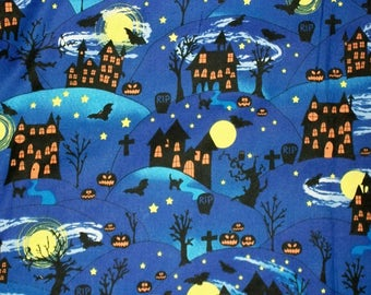 Halloween Fabric, By The Yard, Fabri Quilt Fabrics, Bats Pumpkins Fabric, Spooky Quilting Fabric, Crafting Sewing Fabric, Novelty Fabric