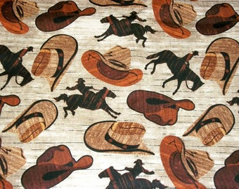 Cowboy Fabric, By The Yard, David Textiles, Western Fabric, Cowboy Hats, Quilting Fabric, Sewing Crafting Fabric, Novelty Fabric, Horses