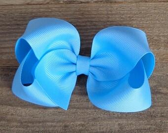 Boutique Hair Bow~Blue Mist Boutique Bow~Blue Boutique Bow~Medium/Large Hair Bow~Solid Color Hair Bows~Basic Boutique Hair Bow~Simple Bows