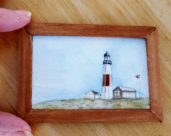 SALE - Original Miniature Painting in Watercolor - Montauk Point - Long Island, NY