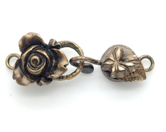 Rose with Butterfly Handmade Bronze Clasp