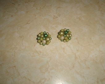 vintage clip on earrings white green lucite glass bead clusters