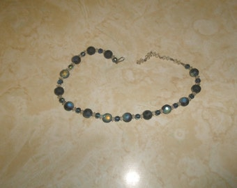 vintage necklace choker blue glass irridescent