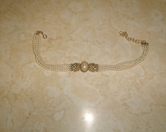 vintage necklace choker triple strand faux pearls goldtone rhinestones