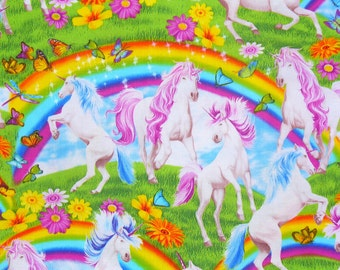 Unicorns and Rainbows, Unicorns Fabric, Rainbows Fabric, Timeless Treasures, By the Yard, Cotton Fabric