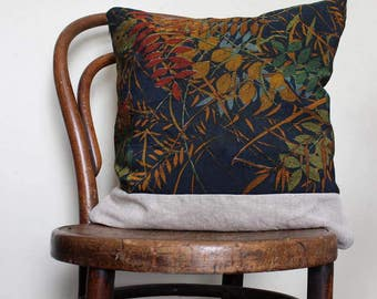 """Grasses Decorative Pillow Cover. Blue Rust Red Teal Green. 18""""/45cm Designer Fabric. Recycled Vintage Kimono Wool / Natural Linen. LAST TWO"""