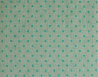 Green on Green Polka Dot Fabric, Polyester/Cotton Blend, Fabric by the Yard