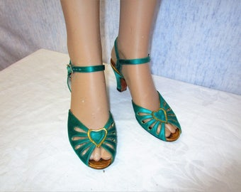 30s 6 AA Saks Fifth Avenue Fenton Last Ankle Strap SHOES Emerald Green
