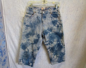 """80s 30"""" Gap Tie Dye Denim Jeans Shorts Capris Blue"""
