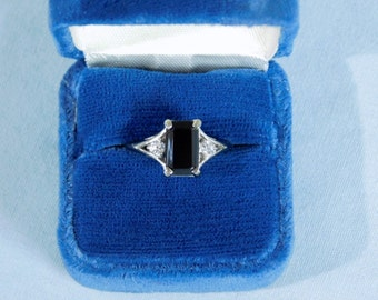 Vintage Avon Sterling Silver Genuine Onyx and Brilliantelle Ring, 1984