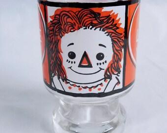 "Raggedy Ann & Andy JUICE GLASS ""I Love You"" Bobbs-Merrill - 1972"