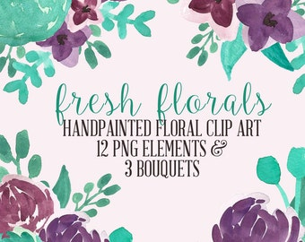 Fresh Floral Abstract Watercolor Flowers Floral Clip Art Digital Handpainted Roses Blooms PNG Wedding Invitation Small Commercial Use OK