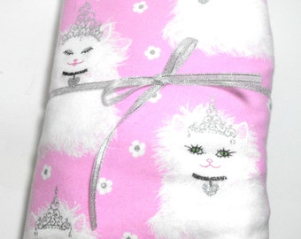 Flannel Fitted Sheet and Pillow Case for Baby Crib or Toddler, Fluffy Kitties with Sparkle