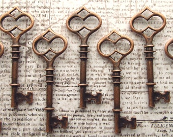 Terena Antique Copper Skeleton Key - Set of 10