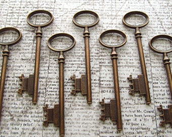 Berwick Antique Copper Skeleton Key - Set of 10