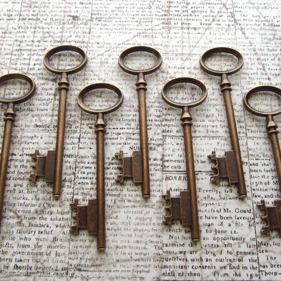 Berwick Antique Copper Skeleton Key - Set of 10