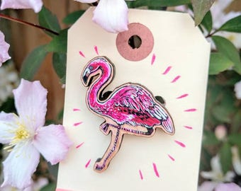 Flamingo Wooden Brooch