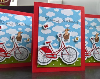 Bicycle Birthday Card, Dog Birthday Card, Bicyclist Card, Dog Lover Card, Dog Mom Card, Happy Birthday Greeting Card, Bike Birthday Card
