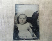 antique miniature gem tintype photo - 1800s, baby with rosy cheeks in someone's arms