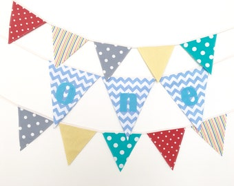 Baby Boy One Year Banner, First Birthday Bunting, Fabric banner (set of 3) - Ready to ship