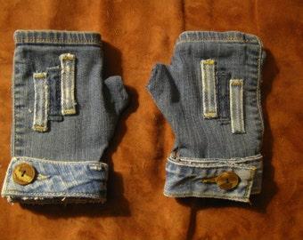 Medium Denim Fingerless Gloves/Gauntlets