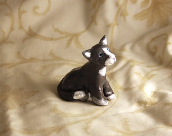 Seated Grey Cat Sculpture