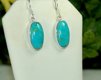 Turquoise Earrings, Rich Aqua Colors, Natural Turquoise, Sterling Silver, December Birthstone, American Turquoise, Turquoise Dangles