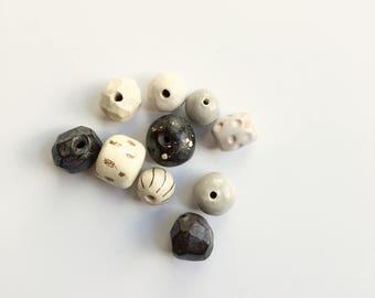 Greys + Dark Browns + Naturals bead assortment