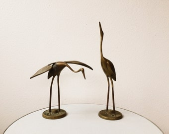 vintage Brass Crane figurines