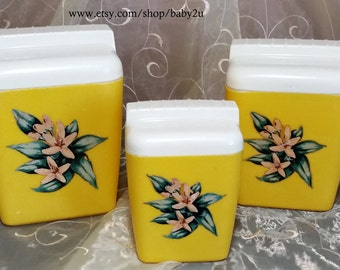 Vintage Burrite Yellow Lily Decal Canister Set by Burroughs MFG (3-pieces)