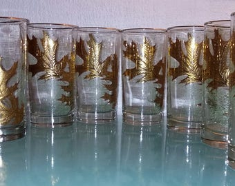 Vintage Mid Century Hollywood Regency Barware Glasses Set 8 Highballs Gold Turquoise