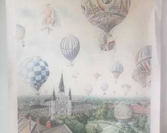 1988 Litho St Louis Cathedral //Hot Air Balloons Art//Drawing watercolor