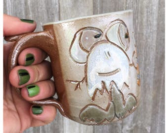 Mug with Monsters, Happy Monsters having a Beer by the Campfire Cup
