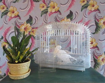 Vintage Handled Bird Cage Clear Plastic Raised Floral Decor Perches Feeders Doors