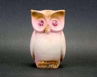 Vintage Roselane Owl Sparkler Figurine with Pink Eyes (E8430)