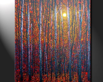 Original Painting Canvas Birch Trees Sunset Contemporary Autumn Forest Art work