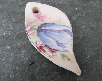 Pasque Flower Ceramic Leaf Pendant
