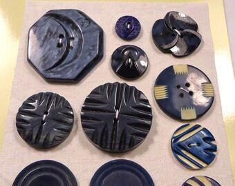 Vintage buttons - Art Deco laminated geometrics  (Ref C73)