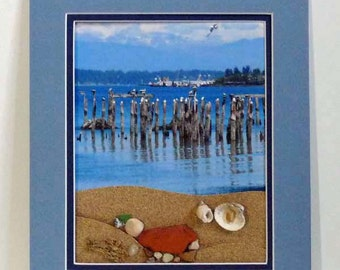 Beach scene, photo art, mixed media, wall art, wall decor, assemblage, wall hanging, bay view, shell collection