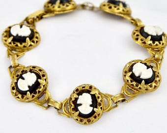 Victorian Vermille Mourning Cameo Black & White Molded Glass in Sterling Link Bracelet
