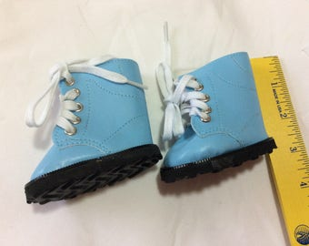 Blue boots, doll shoes, fit American Girl, doll clothes