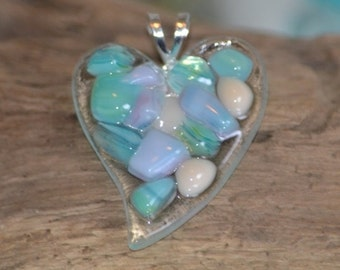 Fused Glass Heart Pendant or Ornament with a Sea Glass look