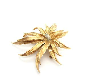Boucher Flower Brooch. Exotic Pavé Rhinestone, Gold Tone Jewelry. Numbered 8149 P. Vintage 1960s Designer Signed Figural Jewelry