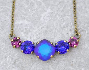 Purple Passion Mini Cluster Necklace Swarovski Crystal Pastel Matte Rainbow Amethyst Purple Bridesmaids Cheshire Cat Heliotrope Rhinestone