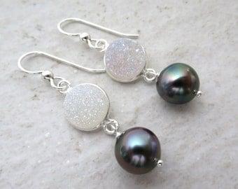 Tahitian Pearl Earrings, Sterling Silver Rainbow Bezeled Druzy, Genuine Multi Colored Black Pearls, Elegant Dainty, Christmas Gift idea