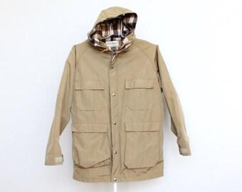 Vintage LL Bean Mens Mountain Parka Jacket Medium Tan Camel Khaki Hood Hooded Wool Blend L L Bean L.L. Bean Plaid 60/40